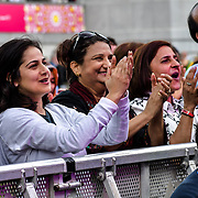 Members of the public attend the the Eid festival in Trafalgar Square London to mark the end of Ramadan on 8 June 2019, London, UK.