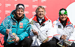 20.03.2011, Pista Silvano Beltrametti, Lenzerheide, SUI, FIS Ski Worldcup, Finale, Lenzerheide, NATIONEN TEAM EVENT, im Bild Cheftrainer Mathias Berthold, Sportdirektor Hans Pum, .Cheftrainer Herbert Mandl .mit den Pokalen während des Nationen Team Event im Zielraum auf der Lenzerheide. //  Cheftrainer Mathias Berthold, Sportdirector Hans Pum, .Cheftrainer Herbert Mandl with the Trophys during Nations Team Event, at Pista Silvano Beltrametti, in Lenzerheide, Switzerland, 20/03/2011, EXPA Pictures © 2011, PhotoCredit: EXPA/ J. Feichter