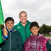 27.07.17.          <br /> Ireland Women&rsquo;s Rugby captain Niamh Briggs was mobbed by young fans in Limerick earlier today (Thursday) as she arrived in the city by boat for the Women&rsquo;s Rugby World Cup trophy tour.<br /> <br /> Pictured with Niamh Briggs, Ireland Women&rsquo;s Rugby captain are Kemal Aksoy and Deren Aksoy.<br /> <br /> <br />  The Limerick based garda and Munster fullback was escorted on the River Shannon by Limerick Marine Search and Rescue along with Nevsail kayakers as she made her way to Arthur&rsquo;s Quay jetty to be officially met by Mayor of Limerick, Cllr Stephen Keary. Picture: Alan Place
