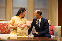 """Molly Pietz Walsh as Jeanette Fisher and Marc Willis as Barney Cashman during dress rehearsal for """"Last of the Red Hot Lovers"""" with Winnipesaukee Playhouse on Wednesday afternoon.  (Karen Bobotas/for the Laconia Daily Sun)"""