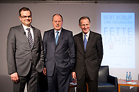 """28 FEB 2012, BERLIN/GERMANY:<br /> Dirk Heilmann, Chefoekonom Handelsblatt, Peer Steinbrueck, SPD, Bundesminister a.D., Bert Ruerup, Gruender und Vorstandsmitglied der MaschmeyerRuerup AG, (v.L.n.R.), Buchpraesentation """"Fette Jahre"""" von Ruerup und Heilmann, Deutsches Institut fuer Wirtschaftsforschung, DIW<br /> IMAGE: 20120228-01-003<br /> KEYWORDS: Buchvorstellung, Buchpräsentation, Peer Steinbrück, Bert Rürup"""