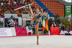 July 28, 2018 - Chieti, Abruzzo, Italy - Rhythmic gymnast Alessia Russo of Italy performs her hoop routine during the Rhythmic Gymnastics pre World Championship Italy-Ukraine-Germany at Palatricalle on 29th of July 2018 in Chieti Italy. (Credit Image: © Franco Romano/NurPhoto via ZUMA Press)