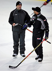 Assistant coach Matjaz Kopitar talking to new head coach Mats Waltin at  hockey training of Slovenian national team, on December 12, 2007 in Bled - Ice Arena, Slovenia. (Photo by Vid Ponikvar / Sportal Images)