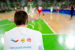 Telekom T shirt during basketball match between KK Union Olimpija and Crvena Zvezda in 16th Round of ABA League, on January 5, 2013 in Arena Stozice, Ljubljana, Slovenia. (Photo By Vid Ponikvar / Sportida.com)