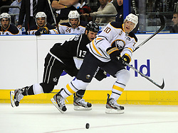 08.10.2011, O2 World, Berlin, Linz, GER, NHL, Buffalo Sabres vs LA Kings, im Bild Christian Ehrhoff (Buffalo Sabres, #10) and Kyle Clifford (LA Kings, #13), during the Compuware NHL Premiere, O2 World Berlin, Berlin, Germany, 2011-10-08, EXPA Pictures © 2011, PhotoCredit: EXPA/ Reinhard Eisenbauer