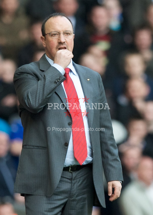 LIVERPOOL, ENGLAND - Sunday, March 30, 2008: Liverpool's manager Rafael Benitez during the 207th Merseyside derby, in the Premiership match at Anfield. (Photo by David Rawcliffe/Propaganda)