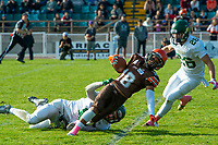 KELOWNA, CANADA - OCTOBER 21: Receiver Malcolm Miller #18 of the Okanagan Sun is tackled during the BCFC Semi-Finals against the Chilliwack Huskers on Sunday, October 21, 2018, at the Apple Bowl, in Kelowna, British Columbia, Canada.  (Photo by Marissa Baecker/Shoot the Breeze)  *** Local Caption ***