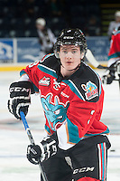 KELOWNA, CANADA - NOVEMBER 8: Riley Stadel #3 of Kelowna Rockets warms up  against the Vancouver Giants on November 8, 2014 at Prospera Place in Kelowna, British Columbia, Canada.   (Photo by Marissa Baecker/Shoot the Breeze)  *** Local Caption *** Riley Stadel;