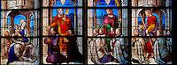 France, Cher (18), Bourges, cathédrale Saint-Etienne de Bourges, site classé Patrimoine mondial de l'UNESCO, vitraux, Chapelle Sainte Anne (13e siecle) // France, Cher (18), Bourges, St Etienne cathedral, UNESCO world heritage, stained glass of Chapelle Saint Anne (16th century)