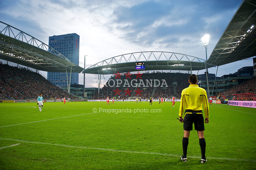 UTRECHT, THE NETHERLANDS - Thursday, September 30, 2010: The extra assistant referee takes up a position as Liverpool take on FC Utrecht during the UEFA Europa League Group K match at the Stadion Galgenwaard. (Photo by David Rawcliffe/Propaganda)
