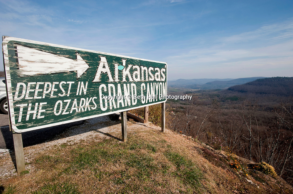A sign for the Arkansas Grand Canyon located on Hwy 7 in Newton County.