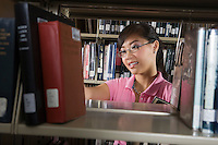 Female University student in library