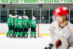 Olimpija players celebrate during Ice Hockey match between HK SZ Olimpija Ljubljana and HDD Jesenice in Round #24 of Alps Hockey League, on December 22, 2018 in Hala Tivoli, Ljubljana, Slovenia. Photo by Ziga Zupan / Sportida