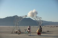 Ethereal Fleeting by: Lukas Truniger, Itamar Bergfreund & Bruce Yoder from: Zurich, Switzerland year: 2018 (This was one of my favorite pieces. Little tiny clouds would puff out and silently drift across the playa. Exquisite!)