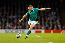 Ireland Fly-Half Ian Madigan kicks a Penalty - Mandatory byline: Rogan Thomson/JMP - 07966 386802 - 18/10/2015 - RUGBY UNION - Millennium Stadium - Cardiff, Wales - Ireland v Argentina - Rugby World Cup 2015 Quarter Finals.