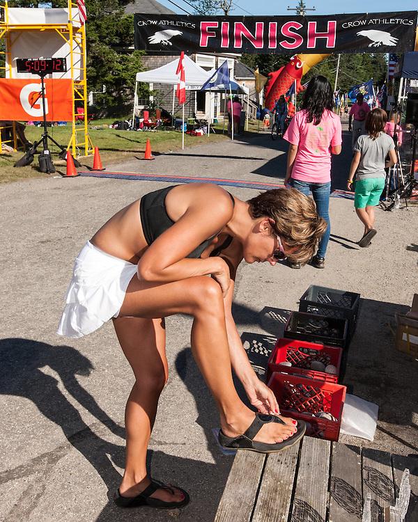 Great Cranberry Island Ultra 50K road race: Missy pops blister