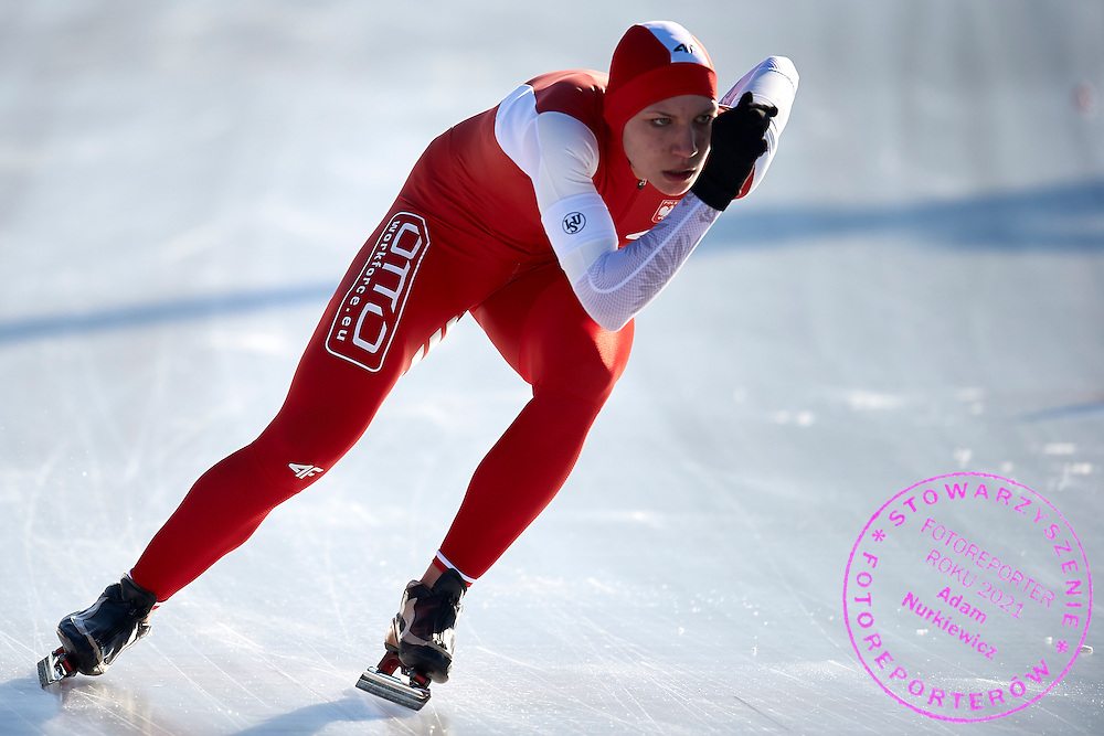 Aleksandra Kapruziak from Poland competes in  women's 1500 meters final during First Day of the ISU Junior World Cup Speed Skating on Stegny Ice Track on February 14, 2015 in Warsaw, Poland.<br /> <br /> Poland, Warsaw, February 14, 2015<br /> <br /> Picture also available in RAW (NEF) or TIFF format on special request.<br /> <br /> For editorial use only. Any commercial or promotional use requires permission.<br /> <br /> Adam Nurkiewicz declares that he has no rights to the image of people at the photographs of his authorship.<br /> <br /> Mandatory credit:<br /> Photo by &copy; Adam Nurkiewicz / Mediasport