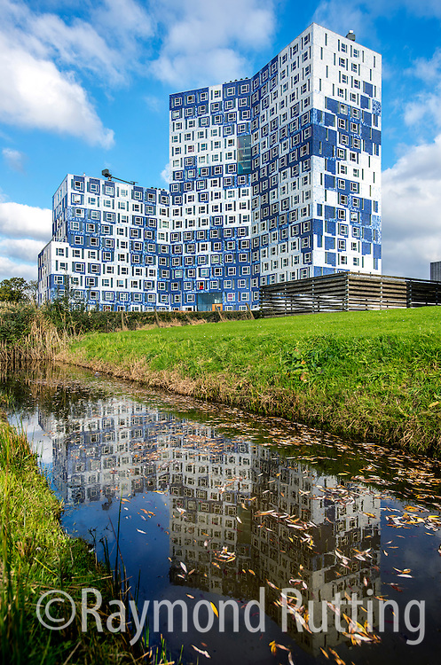 """Netherlands - Utrecht - Student housing- """"Johanna"""" is the very newest student complex which the SSH has built on the Bisschopssteeg in Utrecht Science Park (De Uithof). Here 655 students live in the clouds! It is a stunning building, with a facade covered with authentic blue and white tiles from the famous ceramics manufacturer Royal Tichelaar Makkum.Utrecht Science Park provides a vibrant, dynamic and exciting place to work, to study and to live. There are about 60.000 visitors everyday. photo raymond rutting"""