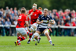 Bristol Rugby Number 8 Mitch Eadie is challenged by London Welsh Full Back Seb Jewell - Mandatory byline: Rogan Thomson/JMP - 07966 386802 - 13/09/2015 - RUGBY UNION - Old Deer Park - Richmond, London, England - London Welsh v Bristol Rugby - Greene King IPA Championship.