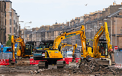 Edinburgh, Scotland, UK. 24 July, 2020. Construction work underway on Leith Walk for new Edinburgh Tram extension to Newhaven.  Iain Masterton/Alamy Live News