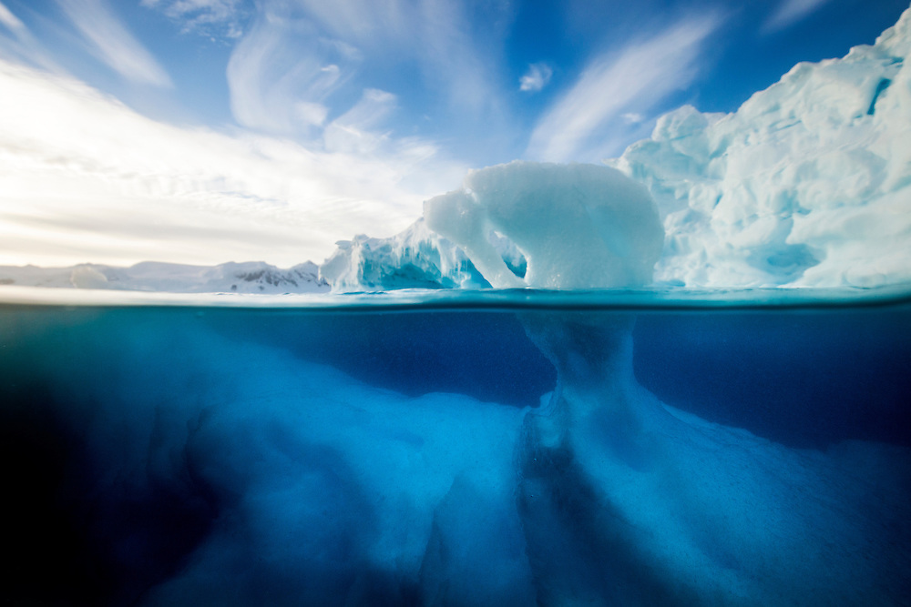 Antarctica, Underwater view of melting Iceberg floating near Enterprise Island in Wilhelmina Bay along Antarctic Peninsula