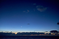 The Moon, Venus. and Mercury visible at dawn from the deck of the MV World Odyssey while traveling across the Pacific Ocean. Image taken with a Fuji X-T1 camera and 23 mm f/1.4 lens (ISO 800, 23 mm, f/2, 1/60 sec).