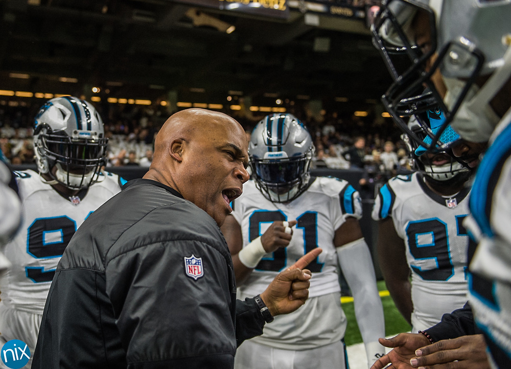 Carolina Panthers against the New Orleans Saints during the wild card round of the NFL playoffs at the Mercedes-Benz Superdome on Sunday, January 7, 2018 in New Orleans, LA. (Photo by Melissa Melvin-Rodriguez)
