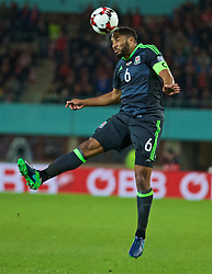 VIENNA, AUSTRIA - Thursday, October 6, 2016: Wales' captain Ashley Williams in action against Austria during the 2018 FIFA World Cup Qualifying Group D match at the Ernst-Happel-Stadion. (Pic by David Rawcliffe/Propaganda)