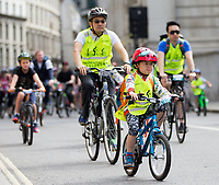 A young rider cycles through the City as part of the Prudential RideLondon FreeCycle 29/07/2017<br />