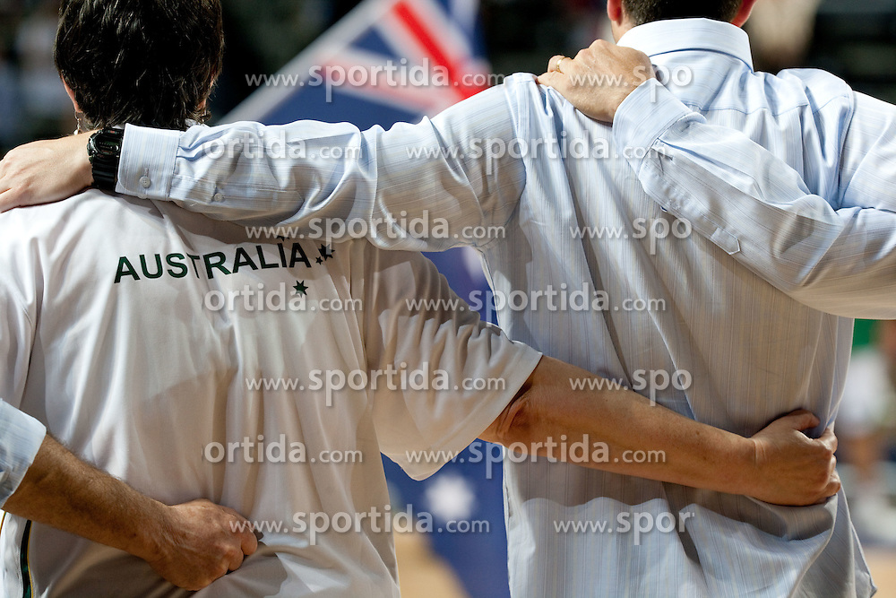 Coaches of Australia listening to the national anthem during  the eight-final basketball match between National teams of Slovenia and Australia at 2010 FIBA World Championships on September 5, 2010 at the Sinan Erdem Dome in Istanbul, Turkey. (Photo By Vid Ponikvar / Sportida.com)