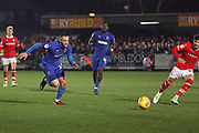 AFC Wimbledon midfielder Dylan Connolly (16) running down the wing during the EFL Sky Bet League 1 match between AFC Wimbledon and Barnsley at the Cherry Red Records Stadium, Kingston, England on 19 January 2019.