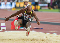 Athletics - 2017 IAAF London World Athletics Championships - Day One<br /> <br /> Event: Men's Long Jump Qualifying <br /> <br /> Julian Howard (GER) leaps into the pit<br /> <br /> <br /> COLORSPORT/DANIEL BEARHAM