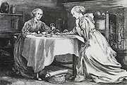 Sisters breakfasting together. Illustration for 'Whiteladies', ondon, 1875, by Margret Oliphant.