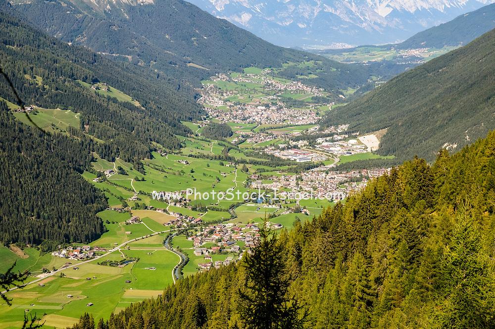 Stubai Valley looking north towards Innsbruck, as seen from the summit of Elfer Mountain, Tyrol, Austria