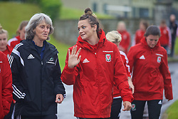 CARDIFF, WALES - Friday, August 19, 2016: Wales' Angie King and Nia Jones during a pre-match walk at the Vale Resort ahead of the international friendly match against Republic of Ireland. (Pic by Laura Malkin/Propaganda)