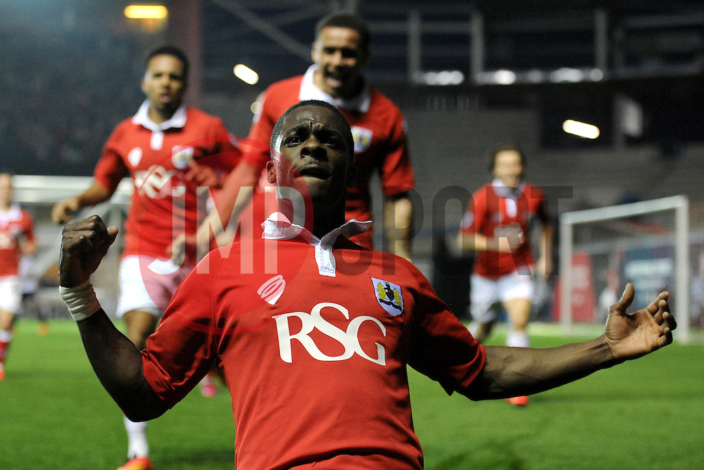 Bristol City's Kieran Agard celebrates his goal. - Photo mandatory by-line: Dougie Allward/JMP - Mobile: 07966 386802 - 07/04/2015 - SPORT - Football - Bristol - Ashton Gate - Bristol City v Swindon Town - Sky Bet League One