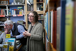 UK ENGLAND FOWEY 19FEB15 - Ann &amp; David Willmore, proprietor of Bookends of Fowey, Cornwall, England, a specialist bookshop on literature by famous English novelist Daphne Du Maurier with biographer Tatiana De Rosnay. Fowey, a small fishing and harbour village was the living place of famous English writer Daphne Du Maurier and many of her novels are based here.<br /> <br /> jre/Photo by Jiri Rezac<br /> <br /> &copy; Jiri Rezac 2015