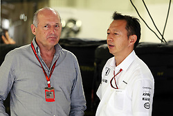 (L to R): Ron Dennis (GBR) McLaren Executive Chairman with Yusuke Hasegawa (JPN) Head of Honda F1 Programme.<br /> 08.10.2016. Formula 1 World Championship, Rd 17, Japanese Grand Prix, Suzuka, Japan, Qualifying Day.<br /> Copyright: Moy / XPB Images / action press