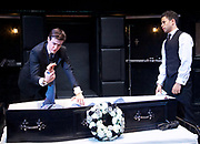 Loot <br /> by Joe Orton <br /> at Park Theatre, London, Great Britain <br /> press photocall <br /> 22nd August 2017 <br /> directed by Michael Fentiman <br /> <br /> Sam Frenchum as Hal <br /> <br /> Calvin Demba as Dennis <br /> <br /> <br /> <br /> <br /> Photograph by Elliott Franks <br /> Image licensed to Elliott Franks Photography Services