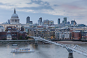 London, England, UK, June 15 2018 - Saint Paul's cathedral, Thames River and Millennium Bridge as seen from the south bank of the river.