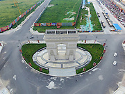 ZHENGZHOU, CHINA - AUGUST 13:<br /> <br />  Aerial view of a replica of the French Triumph Arch on a square of a furnishing shopping mall on August 13, 2016 in Zhengzhou, Henan Province of China. A furnishing shopping mall set up a replica of the French Triumphal Arch with the same scale on its European style square in Zhengzhou. <br /> Exclusivepix Media