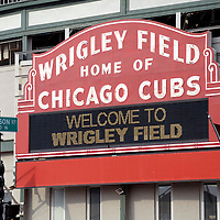 Wrigley Field sign. Wrigley Field is home of the Chicago Cubs. High resolution prints and stock photos are available.