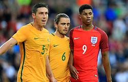 Marcus Rashford of England is marked by 2 Australian defenders - Mandatory by-line: Matt McNulty/JMP - 27/05/2016 - FOOTBALL - Stadium of Light - Sunderland, United Kingdom - England v Australia - International Friendly