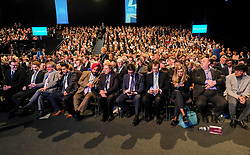 (c) Licensed to London News Pictures. <br /> 03/10/2017<br /> Manchester, UK<br /> <br /> A crowded auditorium awaits the speech from Foreign Secretary Boris Johnson at the Conservative Party Conference held at the Manchester Central Convention Complex.<br /> <br /> Photo Credit: Ian Forsyth/LNP