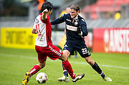 Onderwerp/Subject: FC Utrecht - Willem II - Eredivisie<br /> Reklame:  <br /> Club/Team/Country: <br /> Seizoen/Season: 2012/2013<br /> FOTO/PHOTO: Mark VAN DER MAAREL (L) of FC Utrecht in duel with Jens PODEVIJN (R) of Willem II. (Photo by PICS UNITED)<br /> <br /> Trefwoorden/Keywords: <br /> #04 #22 $94 ±1354626289759<br /> Photo- & Copyrights © PICS UNITED <br /> P.O. Box 7164 - 5605 BE  EINDHOVEN (THE NETHERLANDS) <br /> Phone +31 (0)40 296 28 00 <br /> Fax +31 (0) 40 248 47 43 <br /> http://www.pics-united.com <br /> e-mail : sales@pics-united.com (If you would like to raise any issues regarding any aspects of products / service of PICS UNITED) or <br /> e-mail : sales@pics-united.com   <br /> <br /> ATTENTIE: <br /> Publicatie ook bij aanbieding door derden is slechts toegestaan na verkregen toestemming van Pics United. <br /> VOLLEDIGE NAAMSVERMELDING IS VERPLICHT! (© PICS UNITED/Naam Fotograaf, zie veld 4 van de bestandsinfo 'credits') <br /> ATTENTION:  <br /> © Pics United. Reproduction/publication of this photo by any parties is only permitted after authorisation is sought and obtained from  PICS UNITED- THE NETHERLANDS