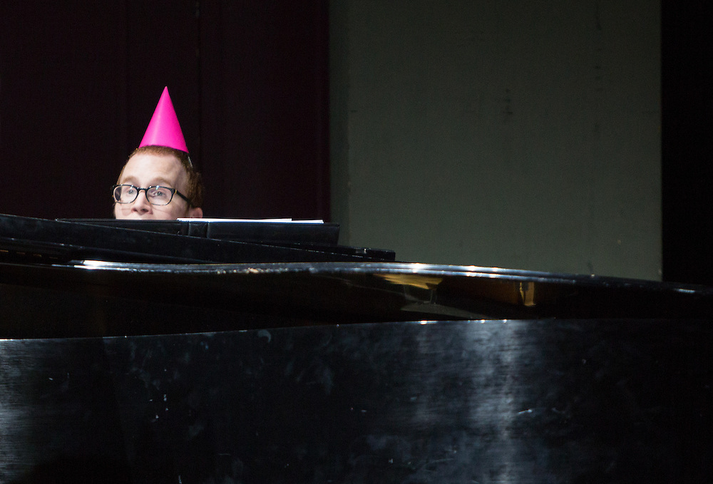 A student in costume plays the piano during the School of Music's Hallowpalooza Concert at the Templeton-Blackburn Alumni Memorial Auditorium on Oct. 29, 2014.
