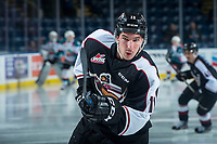 KELOWNA, CANADA - FEBRUARY 7: Hunor Torzsok #11 of the Vancouver Giants warms up with a shot on net against the Kelowna Rockets  on February 7, 2018 at Prospera Place in Kelowna, British Columbia, Canada.  (Photo by Marissa Baecker/Shoot the Breeze)  *** Local Caption ***