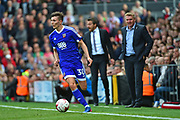 Brentford defender Tom Field (30) in action with Brentford Manager Dean Smith looking on during the EFL Sky Bet Championship match between Fulham and Brentford at Craven Cottage, London, England on 29 April 2017. Photo by Jon Bromley.