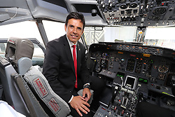 CARDIFF, WALES - Saturday, June 4, 2016: Wales' manager Chris Coleman in the cockpit as the team depart from Cardiff Airport heading to Sweden for their last friendly before the UEFA Euro 2016 in France. (Pic by David Rawcliffe/Propaganda)