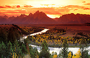 Clearing storm over the Grand Tetons at sunset from the Snake River overlook, Grand Teton National Park, Wyoming